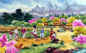 North Korean Colorful Village Painting