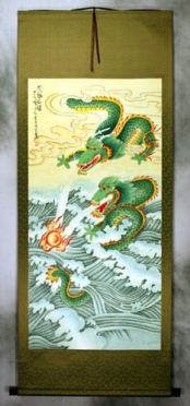 Big Two Dragons Playing with Pearl of Lightning - Wall Scroll