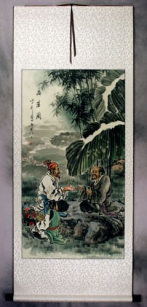 Drinking Good Tea - Ancient Style Wall Scroll