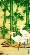 Egrets and Bamboo Large Vertical Painting