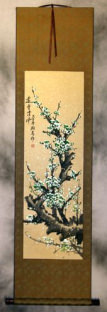Blue-Green Plum Blossoms Wall Scroll