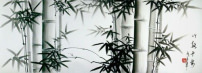 Charcoal Bamboo Landscape Drawing (with silk border)