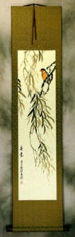 Spirit of Springtime Bird and Flower Wall Scroll
