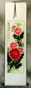 Deep Pink Peony Flower Wall Scroll