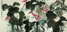 Traditional Freehand Asian Lotus and Birds Large Painting