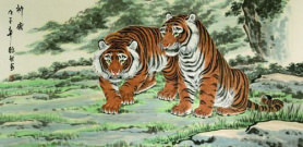 Invincible Might Asian Tigers Large Painting