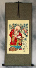 Longevity Saint - Woodblock Print Wall Scroll