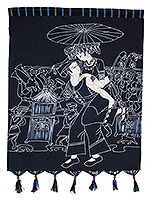 Piggy Back Ride Batik Wall Hanging