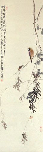 Bird on a Branch - Bird and Flower Wall Scroll close up view