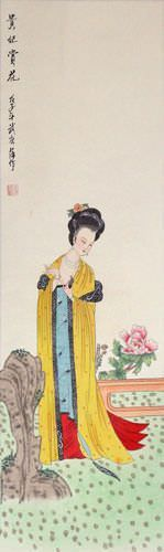 Asian Woman Wall Scroll close up view