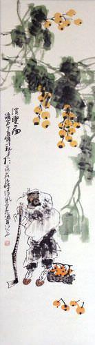 Loquat Man - Wall Scroll close up view