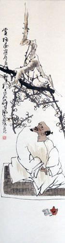 Enjoying the Plum Blossoms - Wall Scroll close up view