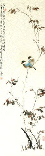Birds on a Branch - Bird and Flower Chinese Wall Scroll close up view