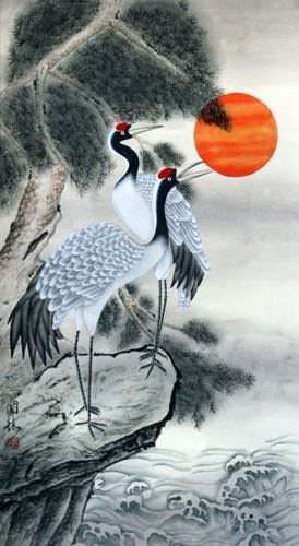 Antique-Style Cranes Wall Scroll close up view