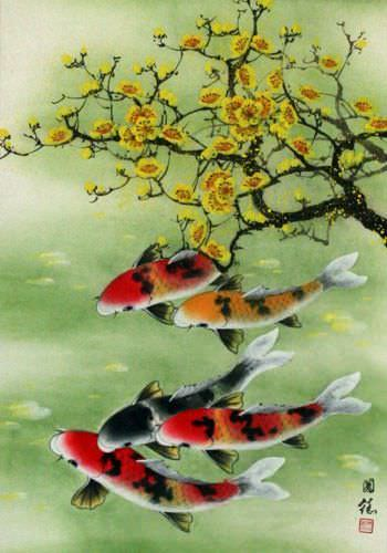 Koi Fish & Plum Blossoms - Asian Silk Wall Scroll close up view