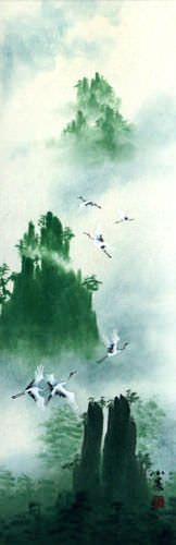 Spirits Visit Yellow Mountain Cranes - Wall Scroll close up view