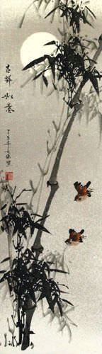 Chinese Birds and Bamboo Silk Wall Scroll close up view
