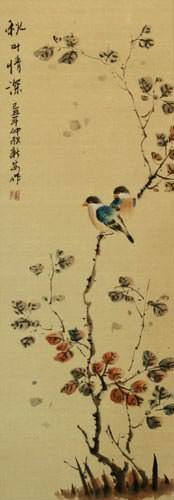 Autumn Leaves Deep Feelings - Chinese Bird and Flower Wall Scroll close up view