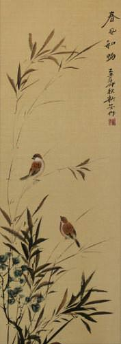 Summer Wishes - Chinese Bird and Flower Wall Scroll close up view