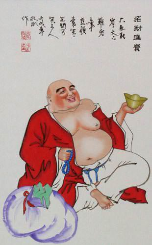 Happy Jolly Buddha Wall Scroll close up view