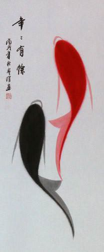 Yin Yang Koi Fish Chinese Scroll close up view