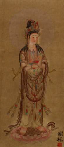 Guanyin Buddha - Buddhist Deity - Partial Print Wall Scroll close up view