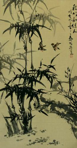 Big Chinese Black Ink Bamboo Wall Scroll close up view