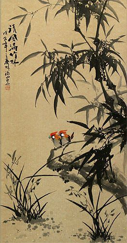 Chinese Black Ink Bamboo and Birds Wall Scroll close up view