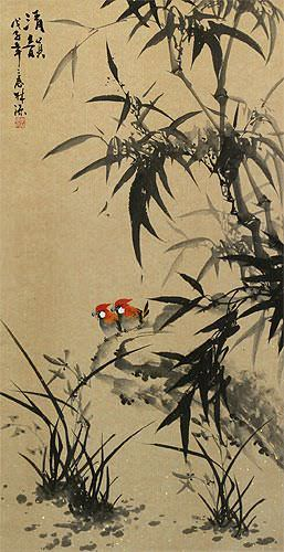 Chinese Black Ink Birds and Bamboo Wall Scroll close up view