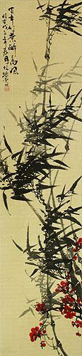 Black Ink Bamboo and Plum Blossom Oriental Wall Scroll close up view