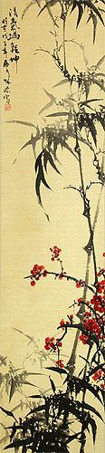 Bamboo and Plum Blossom Wall Scroll close up view