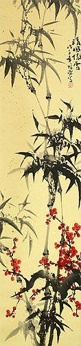 Chinese Bamboo and Plum Blossom Wall Scroll close up view