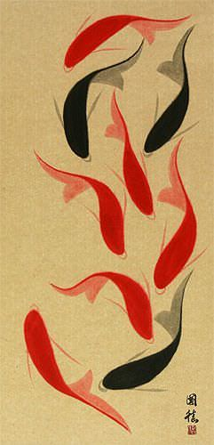Large Nine Abstract Koi Fish Oriental Wall Scroll close up view