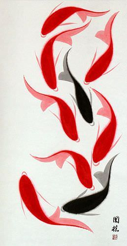 Nine Abstract Koi Fish Large Wall Scroll close up view