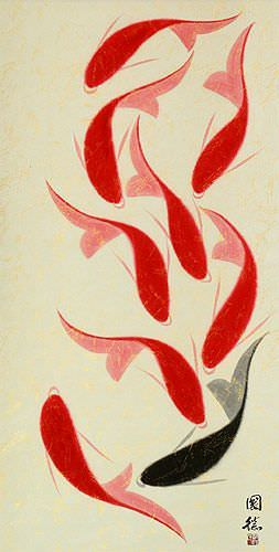 Large Nine Abstract Koi Fish Asian Wall Scroll close up view