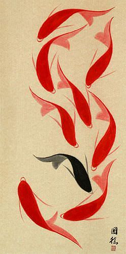 Large Nine Abstract Koi Fish Wall Scroll close up view
