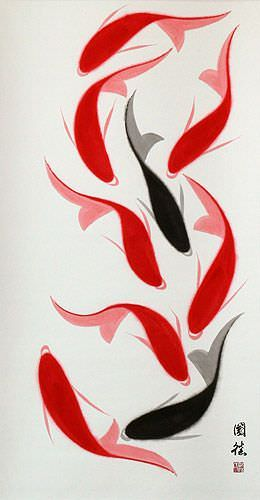 Abstract Large Nine Koi Fish Chinese Wall Scroll close up view
