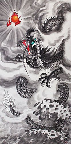 Chinese Dragon in Flight - Asian Wall Scroll close up view