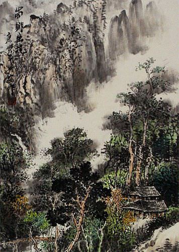 Village Home Landscape Wall Scroll close up view