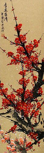 Red Plum Blossom Colorful Wall Scroll close up view