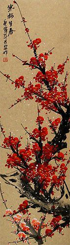 Vivid Red Plum Blossom Wall Scroll close up view