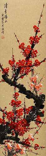 Red Plum Blossom Wall Scroll close up view