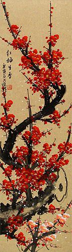 Colorful Red Plum Blossom Wall Scroll close up view