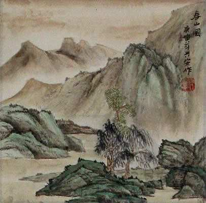 Spring Mountain - Landscape Wall Scroll close up view