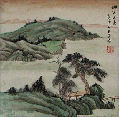 Scenic Lakes and Mountain - Landscape Wall Scroll close up view