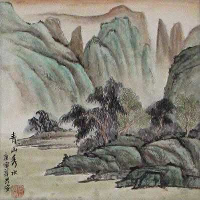 Scenic Lake and Mountains - Landscape Wall Scroll close up view