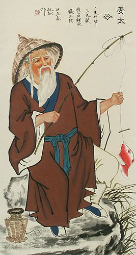 Old Fishing Man Wall Scroll close up view