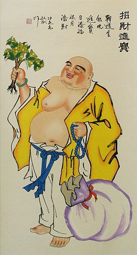 Happy Buddha Brings Treasure - Chinese Wall Scroll close up view