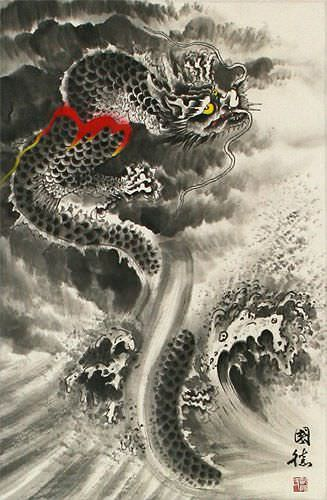 Flying Chinese Dragon in Clouds - Asian Scroll close up view