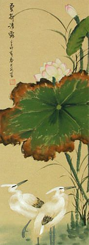 Summer Lotus Pure Dew - Egrets and Lotus Wall Scroll close up view
